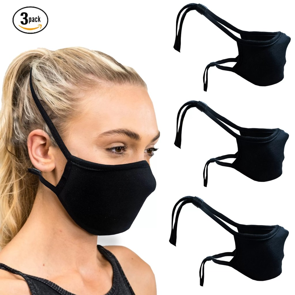 Cloth Face Mask with Head Strap and Filter Pocket- (Pack of 3), 100% Cotton with Adjustable Stopper, Hang on Neck Strap- Washable Unisex Adult Standard Size Face Cover/Mask by SNM Apparels