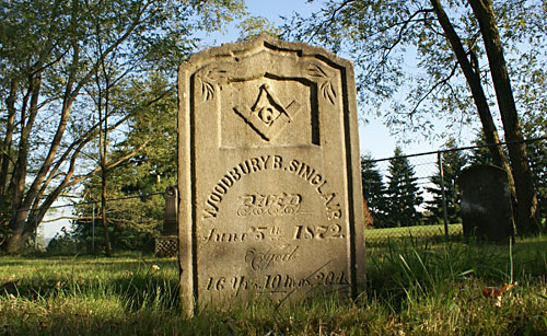 Tombstone for Woodbury Sinclair, c. 1876