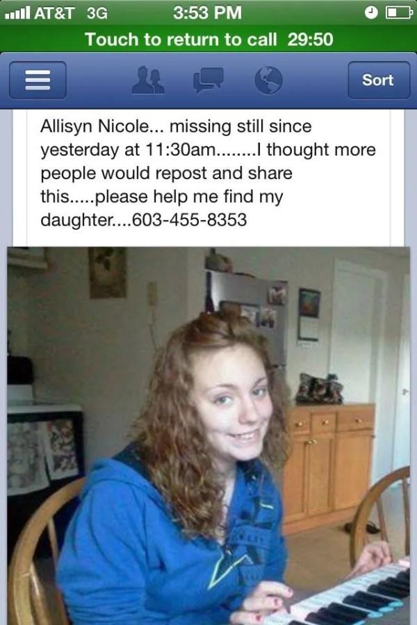 Missing Person Nicole Allisyn