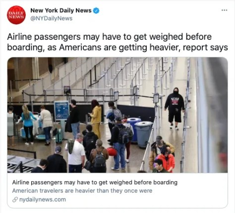 Could U.S. Airlines Start Weighing Passengers?
