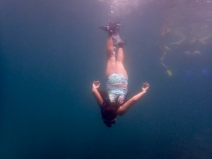 Girl dives Tobago