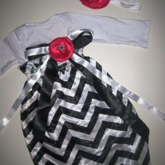 Hot Pink & Black Chevron Gown Set