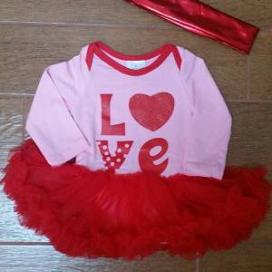 Pink & Red Love Tutu Set