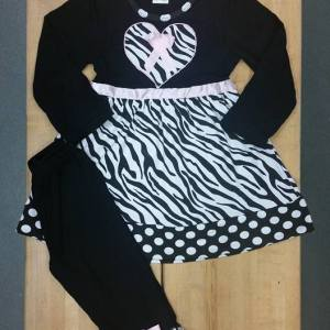 Long Sleeve Black, White, Pink, Zebra Dress & Pant Set
