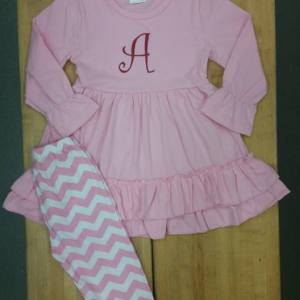 Long Sleeve Pink, Red Dress & Chevron Pant Set