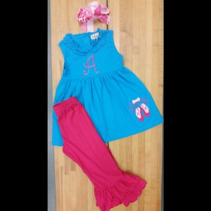 Teal Hot Pink Ballet Slippers Pant Set