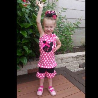 Hot Pink & Black Polka Dot Mouse Short Set