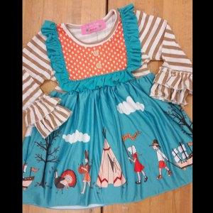 Teal & Orange Thanksgiving Dress