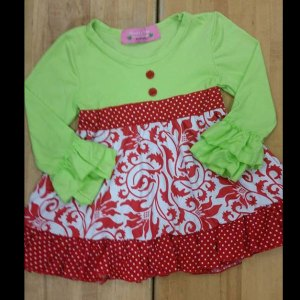 Green & Red Damask Christmas Dress