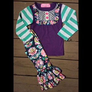 Floral Teal And Purple Pant Set