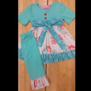Teal Rose Short Sleeve Dress & Legging Set