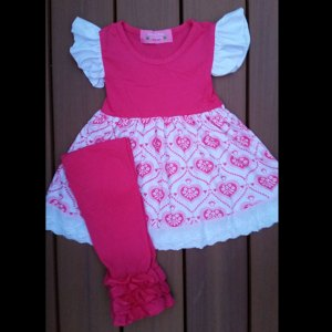 Valentines or Anytime Hot Pink & White Heart Dress With a Touch of Lace