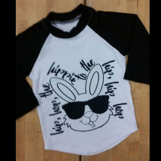 Boys Black & White Raglan Bunny Hip Hop Shirt