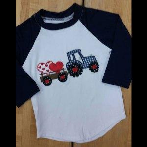 Boys Navy & White Raglan Valentine's Tractor Shirt