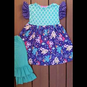 Purple Pony Dress & Capri Set