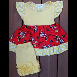 Yellow & Red Mouse Dress & Short Set