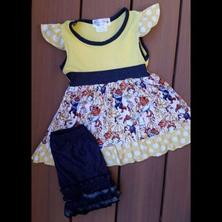 Yellow & Denim Beauty Dress & Shorts Set