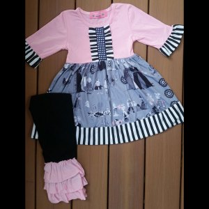 Pink & Grey Halloween or Anytime Dress & Triple Ruffle Legging Set