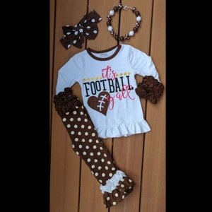 White & Brown Football Yall Pants Set