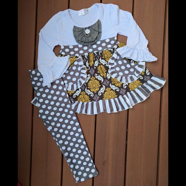 Long Sleeve White & Grey Pocket Dress & Leggings Set
