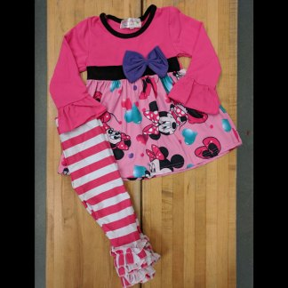 Hot Pink Valentines or Anytime Minnie Striped Leggings Set