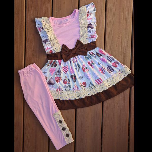 Pink & Brown Vintage Heart Leggings Set