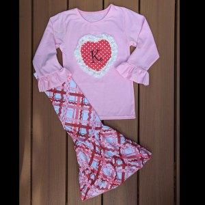 Pink Criss Cross Heart Shirt & Wide-Leg Pants Set