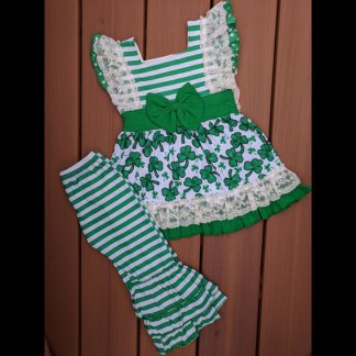 Short Sleeve Striped Shamrock Dress & Pants Set