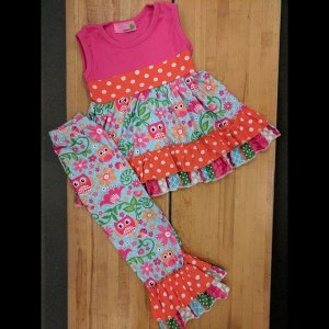 Hot Pink & Orange Owl Dress & Pants Set
