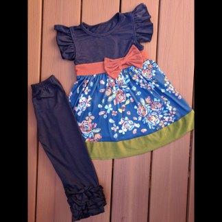 Navy & Blue Floral Dress & Leggings Set