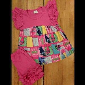 Hot Pink Trolls Shorts Set