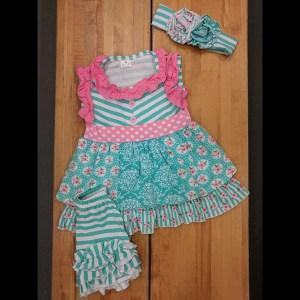 Aqua & Pink Floral Short Set