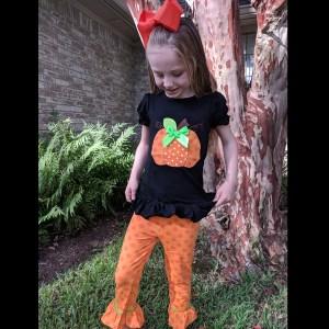 Short Sleeve Black Pumpkin Pants Set