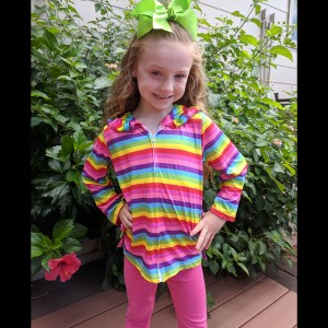 Colorful Ruffle Jacket With Hot Pink Leggings