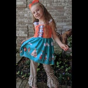Short Sleeve Orange & Teal Thanksgiving Parade Dress & Pant Set