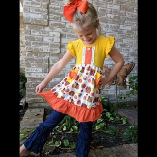 Orange & Yellow Turkey Tunic with Pockets and Denim Pants Set