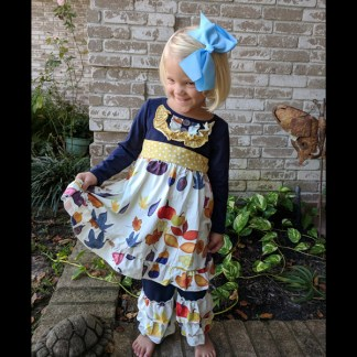 Navy & Mustard Fall Dress & Triple Ruffle Pant Set
