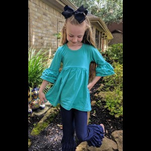 Teal 3/4 Sleeve Ruffle Tunic Paired With Denim Triple Ruffle Pants