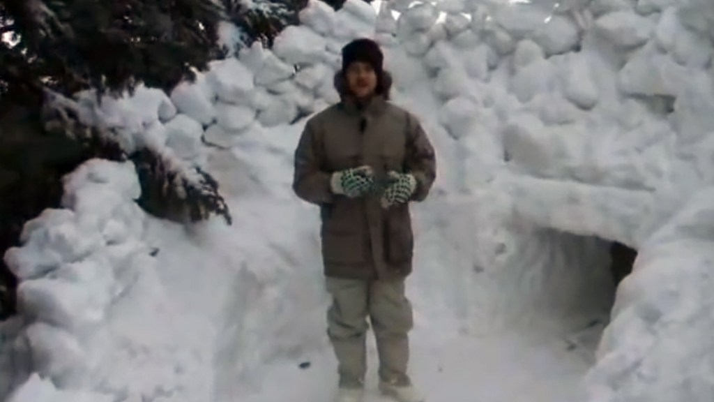 Tunnelling through a giant pile of snow is fun!
