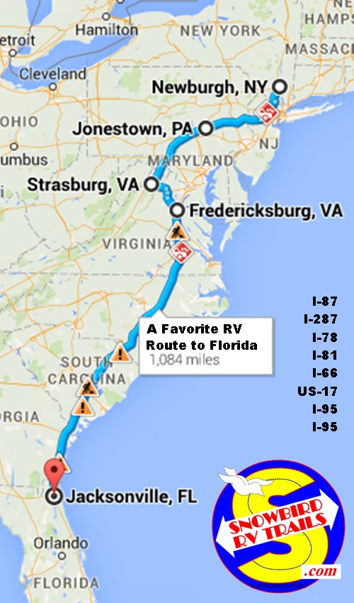 The I-81to I-66/US-17 to I-95 route from Canada and New England to Florida