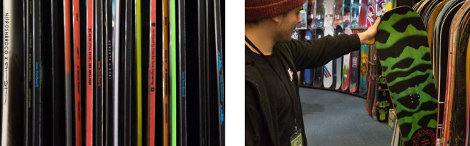Snowboards in a row
