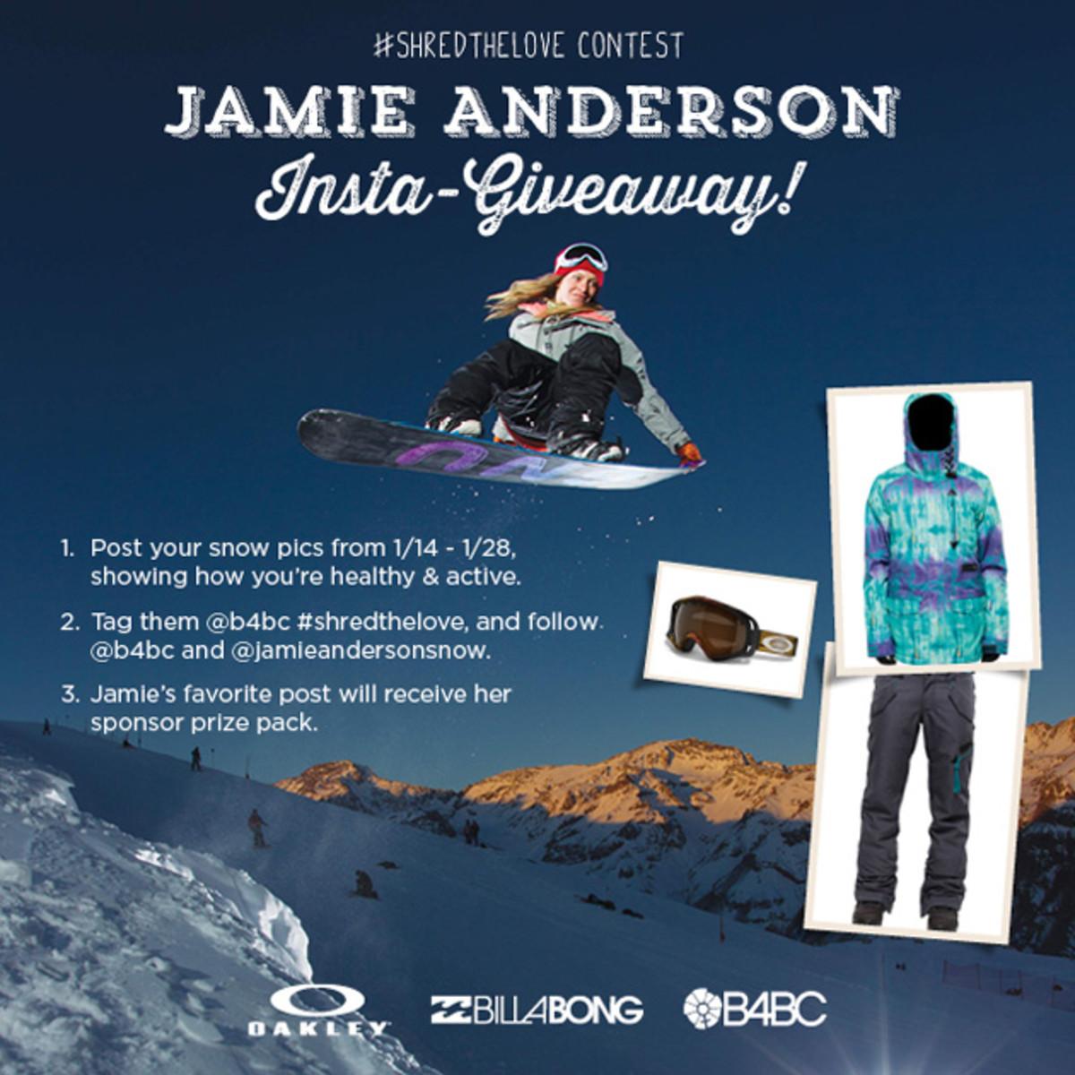 """#SHREDTHELOVE With Jamie Anderson"" Instragram Contest ..."