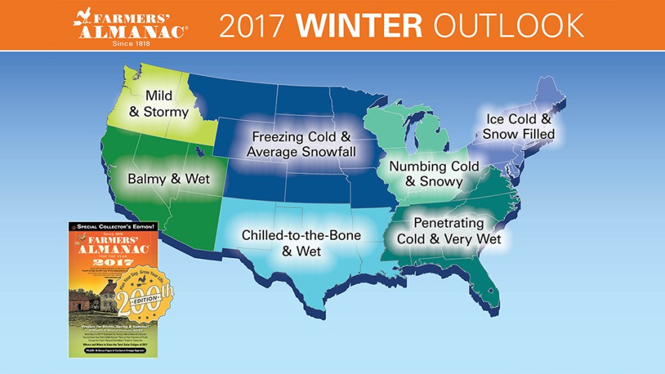 Farmers' Almanac Winter Weather Predictions 2016 - 2017