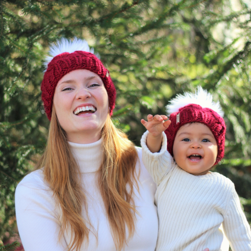 Mommy and me matching cable knit hat
