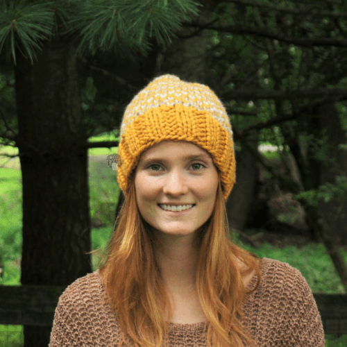 chunky mulicolored pixel knit hat