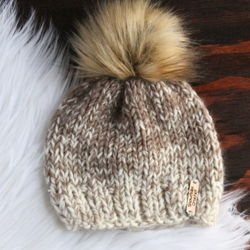 cream tan handknit hat