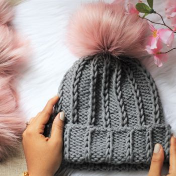 blush faux fur pom pom and midnight train fold brim knit pattern