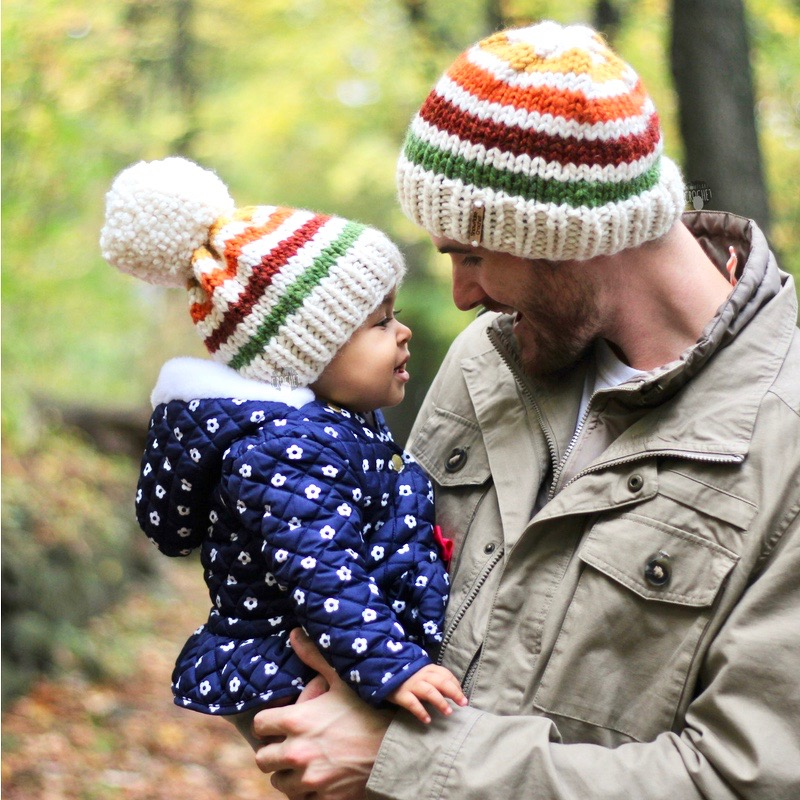 Baby and Dad matching knit hat