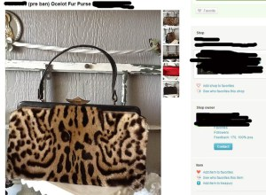 a pre-ban ocelot fur purse, listed on Etsy