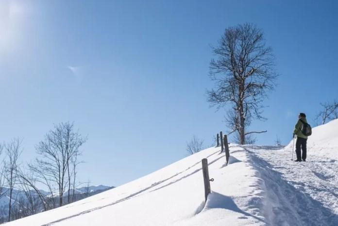 Hier zijn de sneeuwschoenen weer uit en maken we een prachtige wandeling met uitzicht op de vallei. Eigen foto: Manja Herrebrugh, Snowrepublic